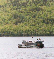 Pontoon boat on Big Wood Lake